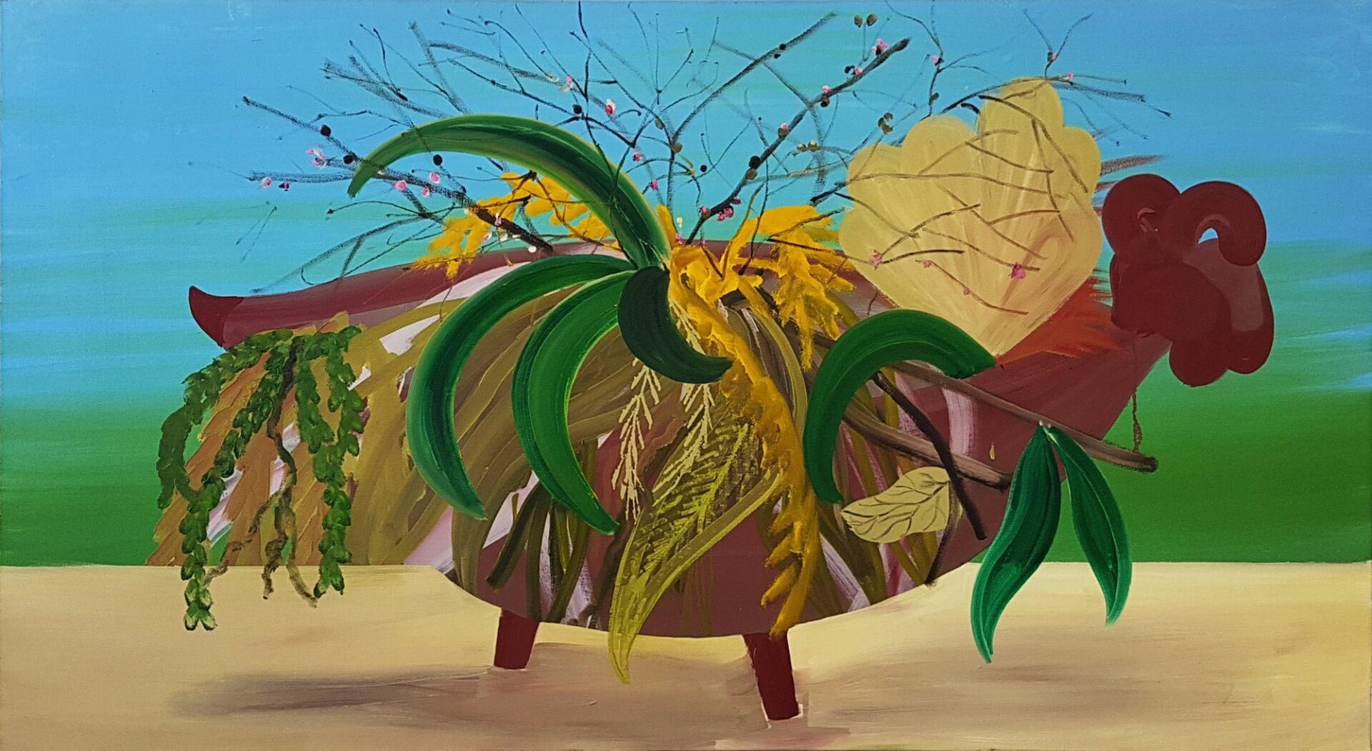 שי אזולאי, בוקט, 2016, שמן על בד ,100x180cm