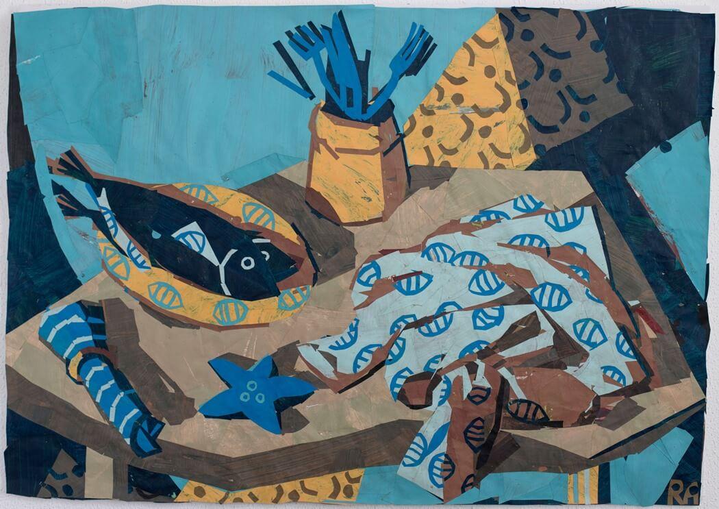 untitled 5רותם עמיצור, קולאז עם נייר צבוע ביד, צילום ליבי קסל