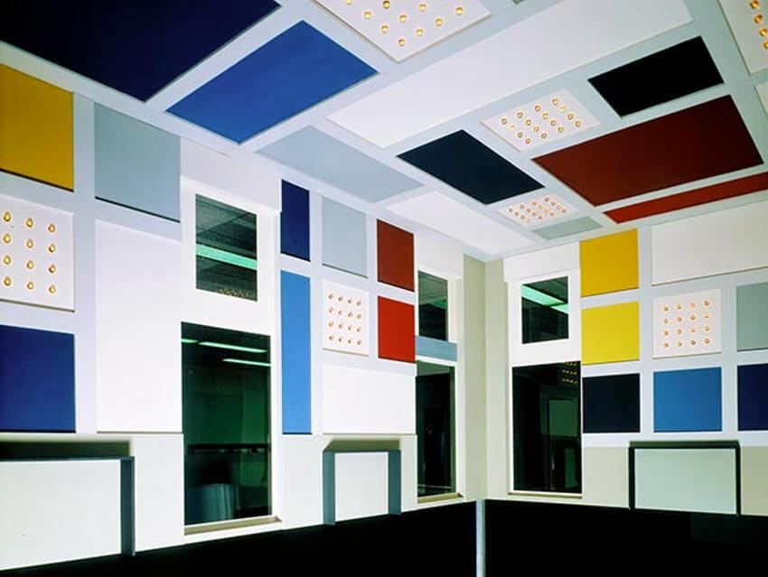 Theo van Doesburg - design interior dance hall L Aubette, Strassbourg (1928) reconstruction 1968, scale 1 - 5 (detail) Collection Van Abbemuseum, Eind