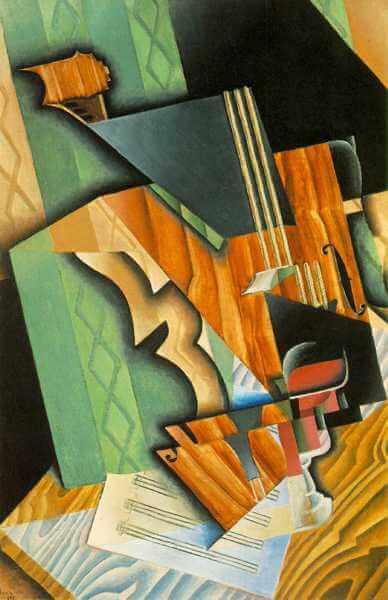 חואן גרי, דומם עם כינור וכוס, 1915