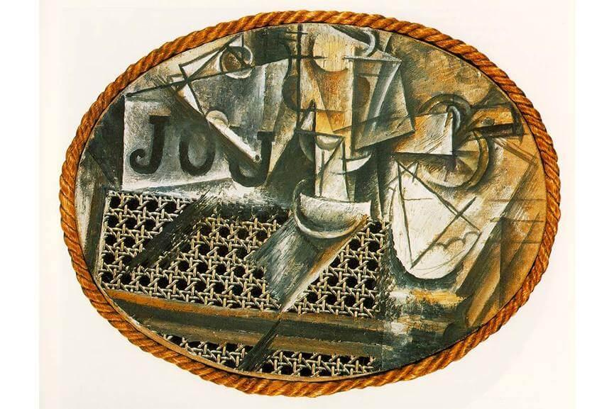 פיקאסו, דומם עם כסא קש, 1912