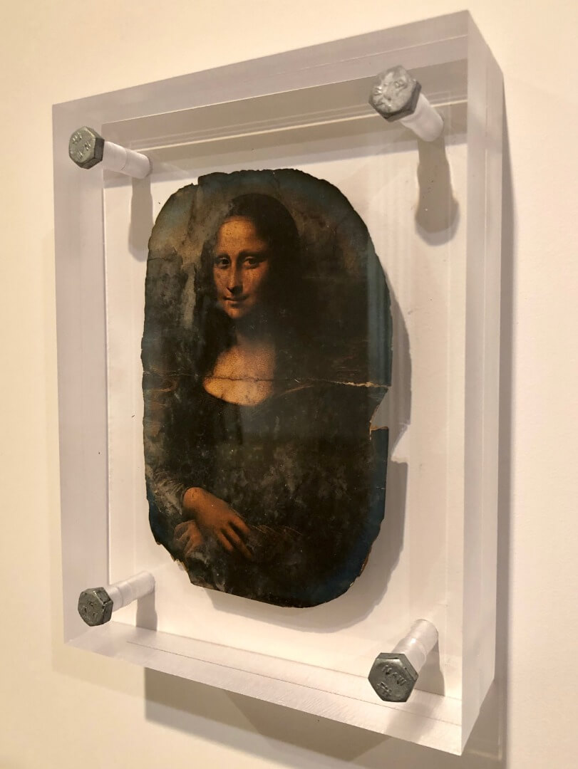 6_Dawn DeDeaux, Souvenirs of Earth Series, Burnt Postcard of Mona Lisa, 2014