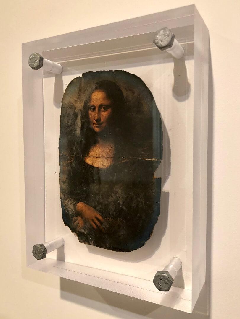 6_Dawn DeDeaux, Souvenirs of Earth Series, Burnt Postcard of Mona Lisa, 2014