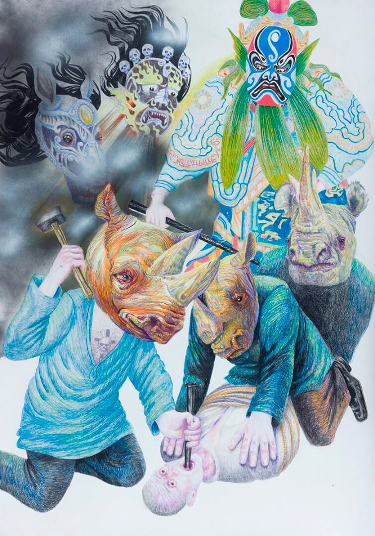 ruven kuperman After Danzig Baldaev IX 2016 color pencils and spray on paper  150X105cm