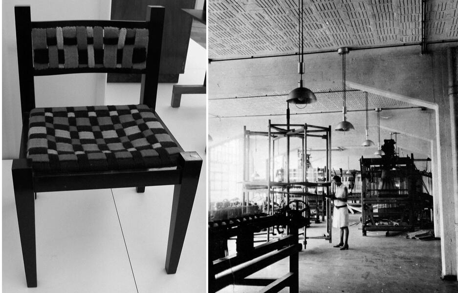 גונטה שטולץ בסדנת השטיחים בדסאו, 1931