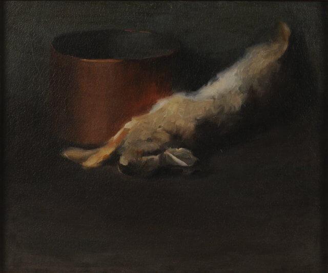אוקיף ארנב מת עם קערת נחושת
