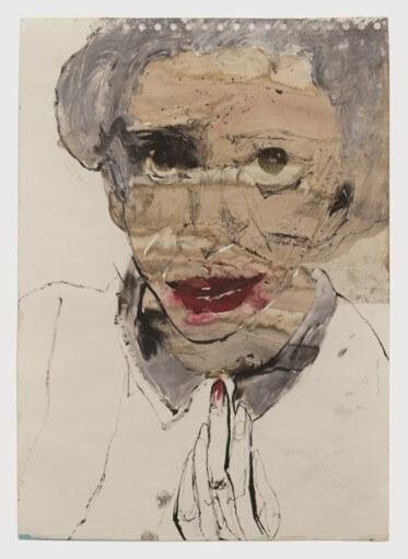 לאה גולדברג 1, אהובתי, 2019,  טכניקה מעורבת על נייר, 30 X 42  - צילום אלעד שריג